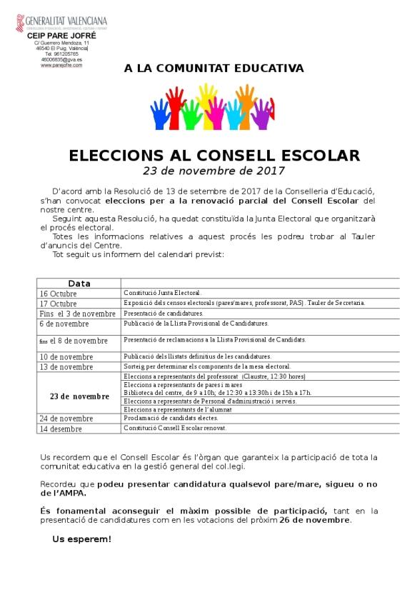 carta comunicant calendari eleccions 2017